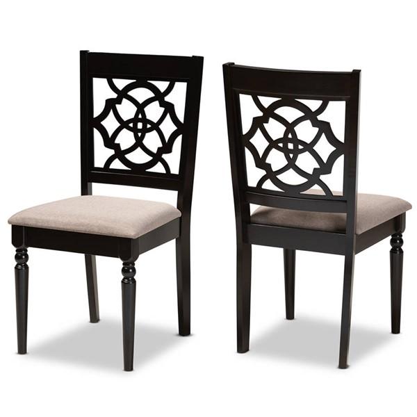 2 Baxton Studio Renaud Sand Fabric Espresso Brown Wood Dining Chairs BAX-RH332C-SND-DBR-DC-2PK