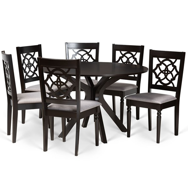 Baxton Studio Sadie Dark Brown Finished Wood 7pc Dining Sets BAX-SADIE-DBR-7PCDINSET-VAR