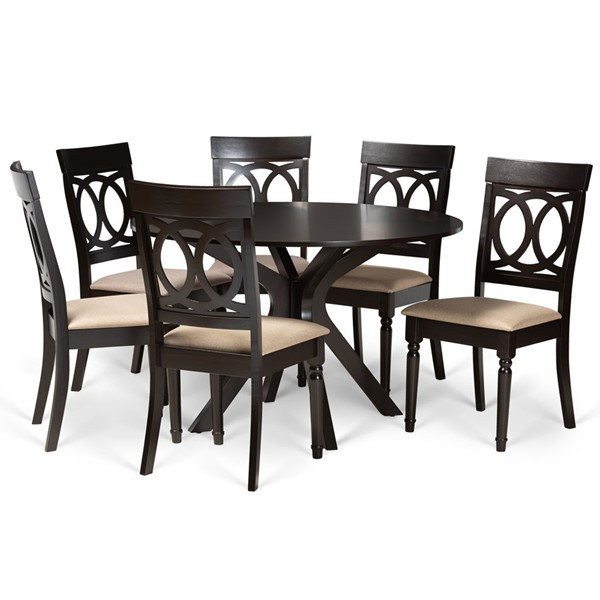 Baxton Studio Jessie Sand Fabric Dark Brown Finished Wood 7pc Dining Set BAX-Jessie-Sand-Dark-Brown-7PC-Dining-Set