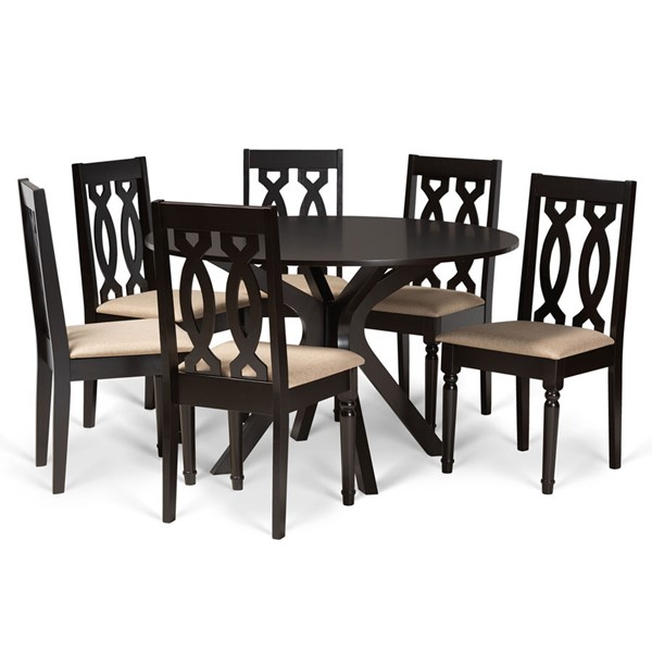 Baxton Studio Callie Sand Fabric Dark Brown Finished Wood 7pc Dining Set BAX-CALLIE-SD-DBR-7PCDINSET