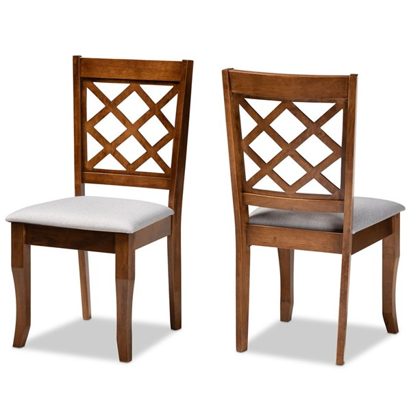 2 Baxton Studio Verner Grey Fabric Walnut Brown Finished Wood Dining Chairs BAX-RH330C-Grey-Walnut-DC-2PK