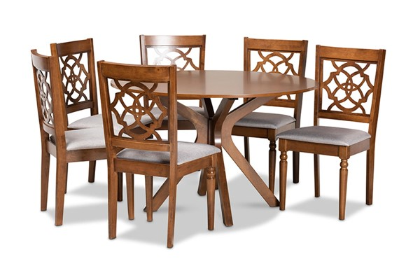 Baxton Studio Sadie Walnut Brown 7pc Dining Set BAX-SADIE-GY-WL-7PCDINSET