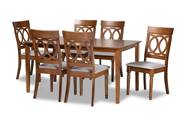 Baxton Studio Lucie Walnut Brown 7pc Dining Set BAX-RH333C-Grey-Walnut-DC-7PC-Dining-Set
