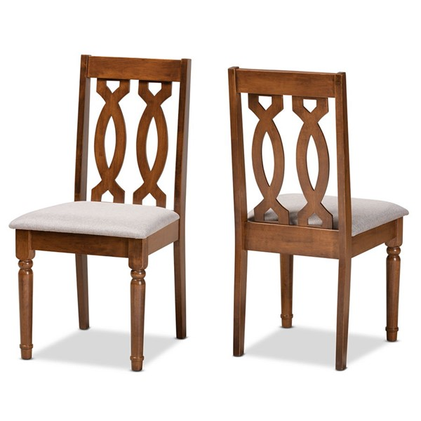 2 Baxton Studio Cherese Grey Fabric Walnut Brown Wood Dining Chairs BAX-RH334C-Grey-Walnut-DC-2PK