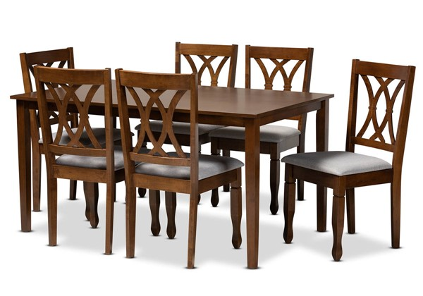 Baxton Studio Augustine Grey Fabric Walnut Brown Wood 7pc Dining Set BAX-RH316C-Grey-Walnut-7PC-Dining-Set