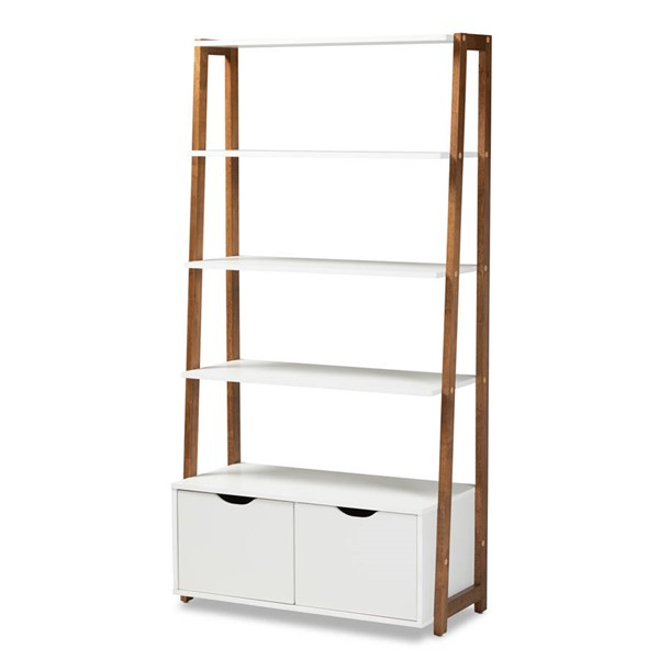 Baxton Studio Senja White Ash Walnut Brown Wood 2 Door Ladder Bookshelf BAX-BC-1684-00-Ash-Walnut-White-Shelf