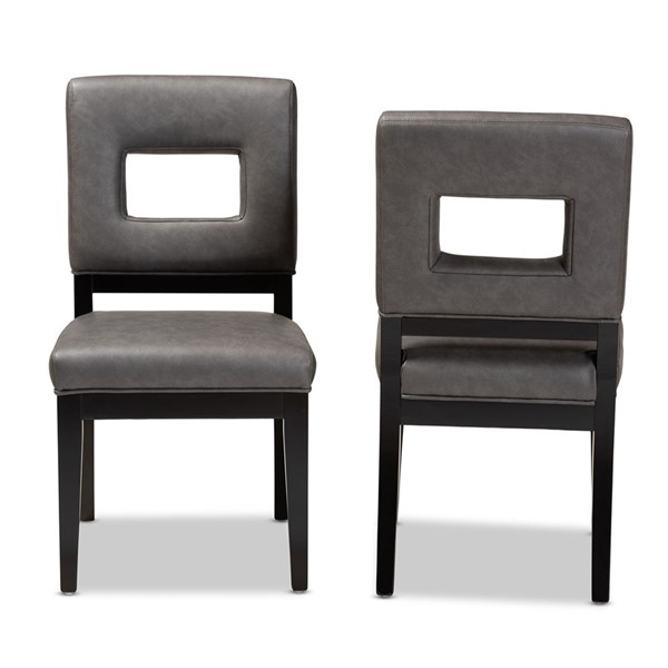 2 Baxton Studio Faustino Grey Faux Leather Upholstered Dining Chairs BAX-Y-765-CU155-Charcoal