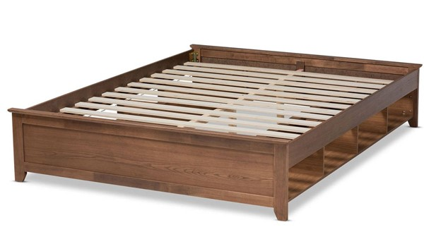 Baxton Studio Anders Ash Walnut Wood King Platform Storage Bed BAX-MG0013-Ash-Walnut-King