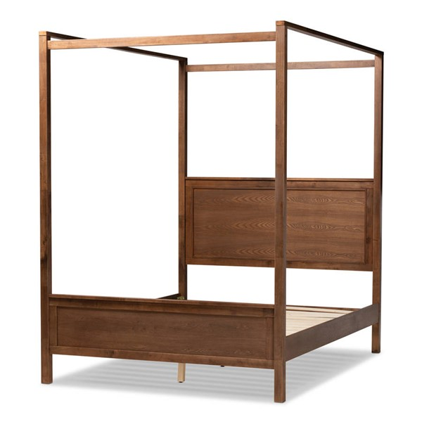 Baxton Studio Veronica Walnut Brown Wood Platform Canopy Beds BAX-MG0021-BED-VAR