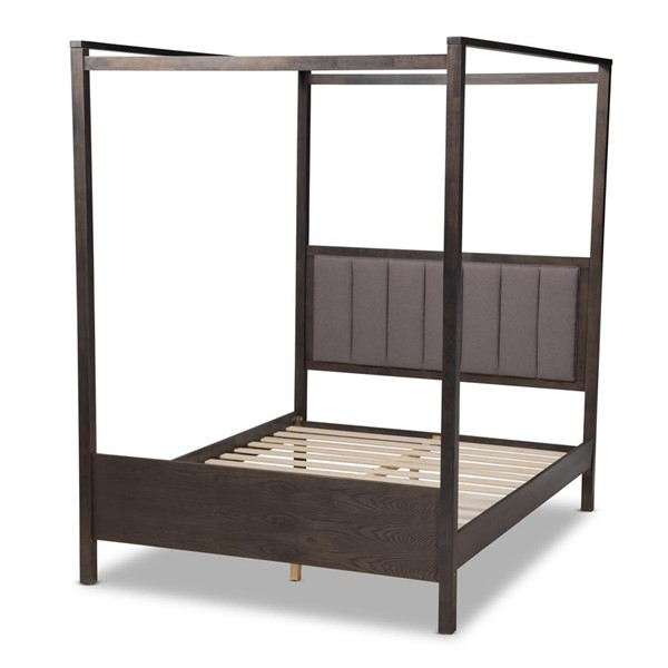 Baxton Studio Natasha Dark Grey Wood King Platform Canopy Bed BAX-MG0021-2-GYGRN-K