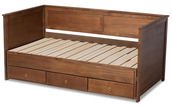 Baxton Studio Thomas Walnut Brown Wood Twin to King Daybed with Drawers BAX-MG0032-Walnut-3DW-Daybed