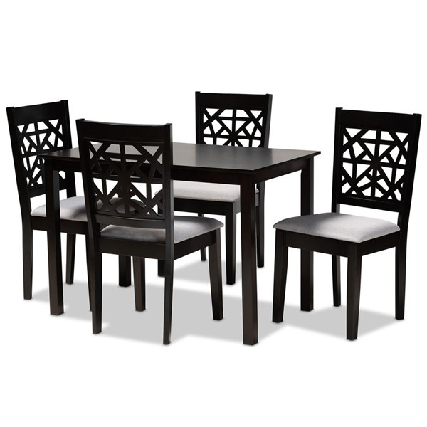 Baxton Studio Jackson Grey Espresso Oak Wood 5pc Dining Room Set BAX-RH310C-GY-DBR-5PCDINSET