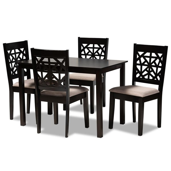 Baxton Studio Jackson Sand Espresso Oak Wood 5pc Dining Room Set BAX-RH310C-Sand-Dark-Brown-5PC-Dining-Set