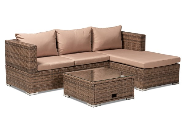 Baxton Studio Addison Light Brown 3pc Outdoor Patio Set with Adjustable Recliner BAX-MLM-210516-Brown