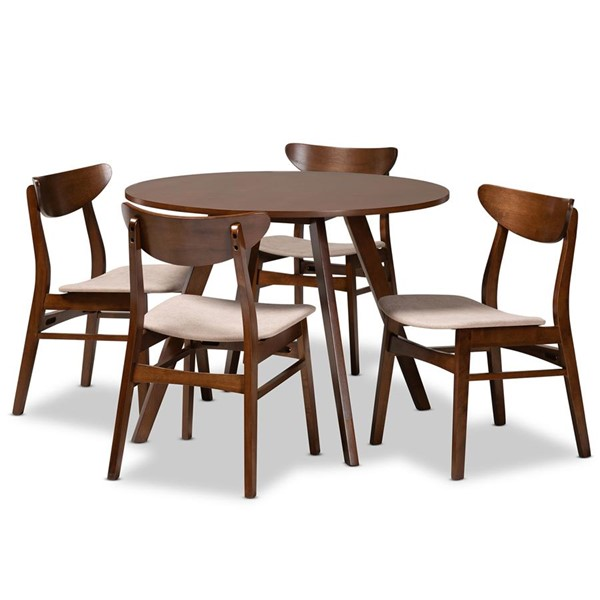 Baxton Studio Philip Light Wood 5pc Dining Room Sets BAX-Parlin-Hexa-DR-SET-VAR