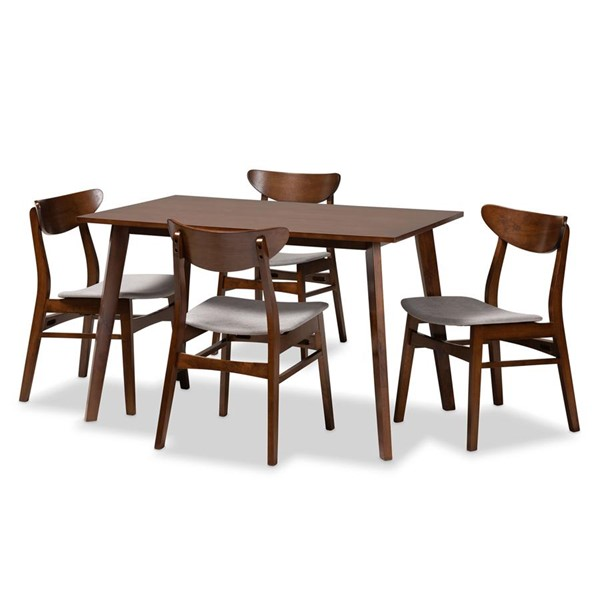 Baxton Studio Orion Light Grey Fabric Walnut Wood 5pc Dining Room Set BAX-Parlin-Fiesta-Smoke-Walnut-5PC-Dining-Set
