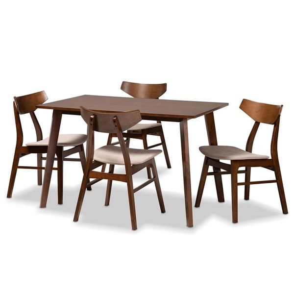 Baxton Studio Lois Light Beige Fabric Walnut Wood 5pc Dining Room Set BAX-DANICA-LAT-WL-5PCDINSET