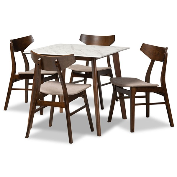 Baxton Studio Pearson Brown Wood 5pc Dining Room Sets BAX-Pearson-5PC-DR-VAR