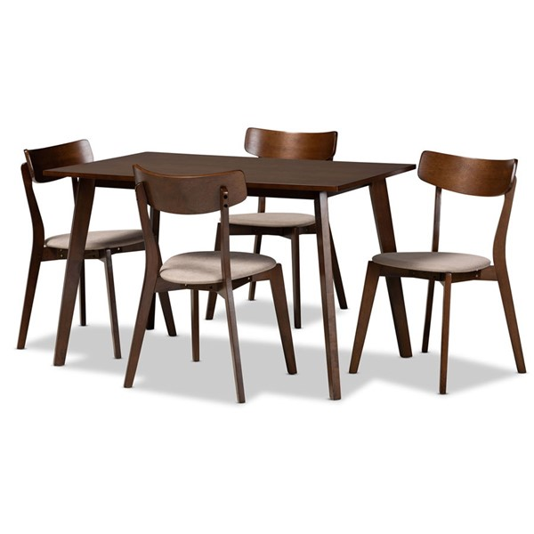 Baxton Studio Nori 5pc Dining Room Sets BAX-Iora-Fiesta-Walnut-5PC-DR-Set-VAR