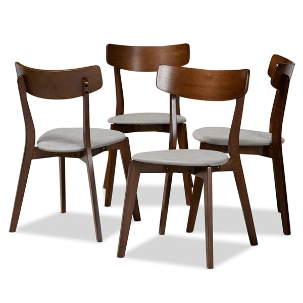4 Baxton Studio Iora Light Grey Fabric Brown Wood Dining Chairs BAX-Iora-Smoke-Walnut-DC