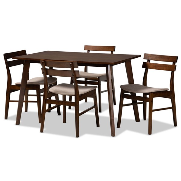 Baxton Studio Eleri Brown Wood 5pc Dining Room Sets BAX-Delvin-Fiesta-Walnut-5PC-DR-Set-VAR