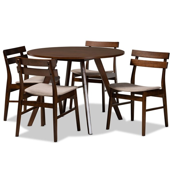 Baxton Studio Eiko Brown Wood 5pc Dining Room Sets BAX-DELVINHEXA-WL-5PCDRS-V