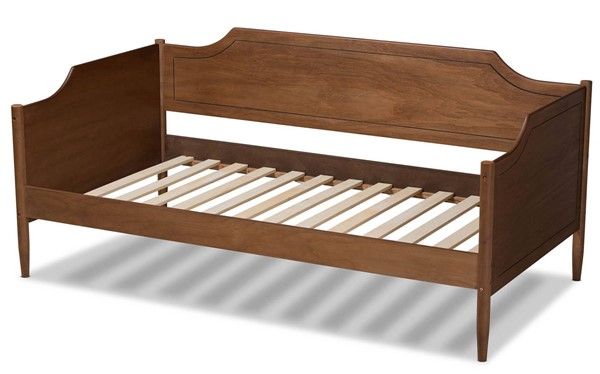 Baxton Studio Alya Walnut Gold Wood Twin Daybed BAX-MG0016-1-Walnut-Daybed