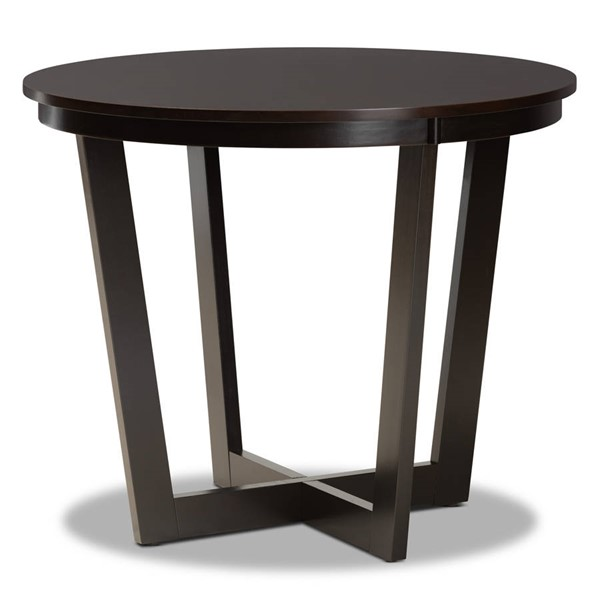Baxton Studio Alayna Dark Brown 35 Inch Wide Round Dining Table BAX-RH7048T-DBR-35-IN-DT