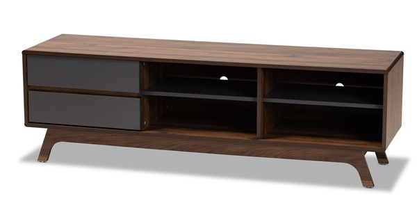 Baxton Studio Koji Grey Walnut 2 Drawers TV Stand BAX-SE-TV90780WI-TV-STAND