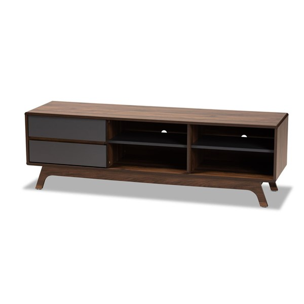 Baxton Studio Koji Grey Walnut 2 Drawers TV Stand BAX-SE-TV90780WI-Columbia-Dark-Grey-TV-Stand
