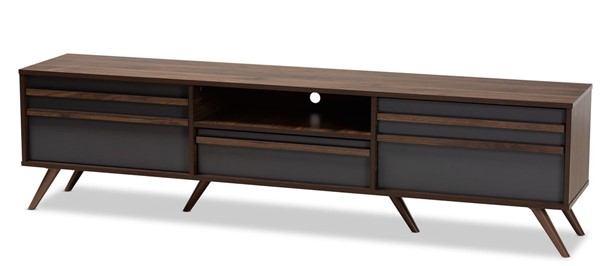Baxton Studio Naoki Grey Walnut TV Stand with Compartments BAX-LV15TV15130-COLMB-DGY-TV
