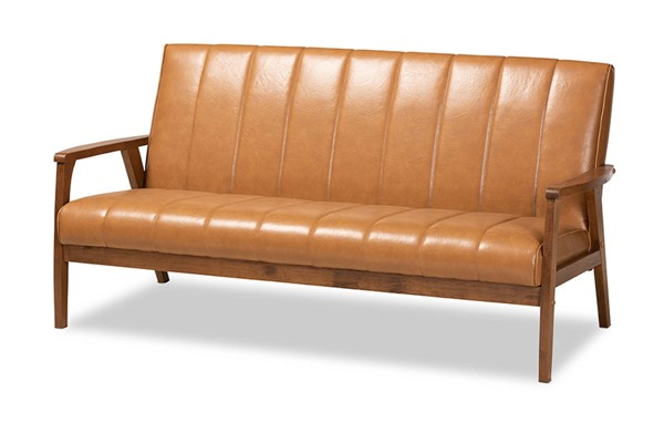 Baxton Studio Nikko Tan Walnut Brown Sofa BAX-BBT8011A2-Tan-Sofa