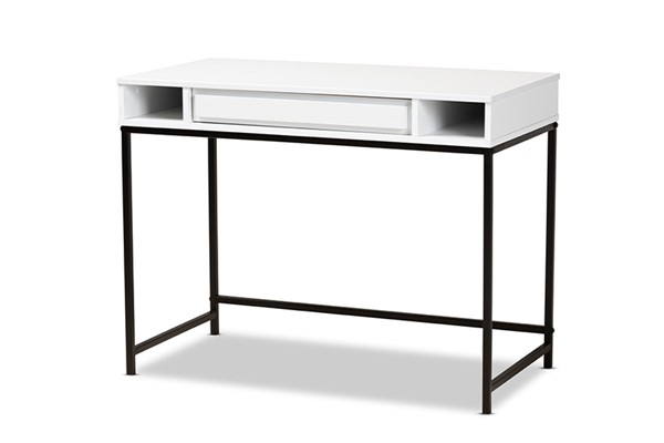 Baxton Studio Cargan White Black Drawer Desk BAX-ST8002-White-Black-Desk