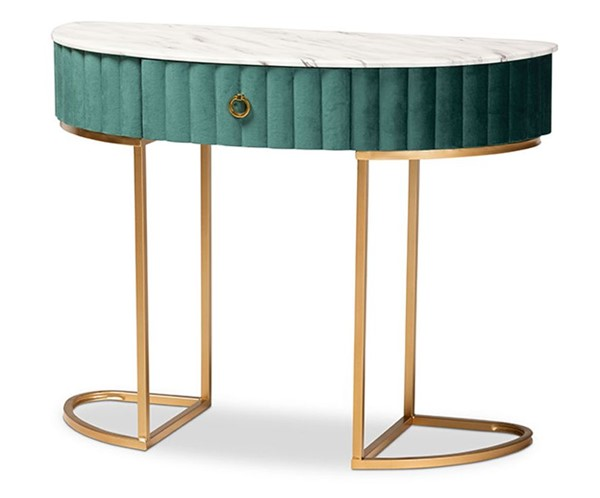 Baxton Studio Beale Green Gold Drawer Console Table BAX-JY20A157-GREEN-GLD-CON
