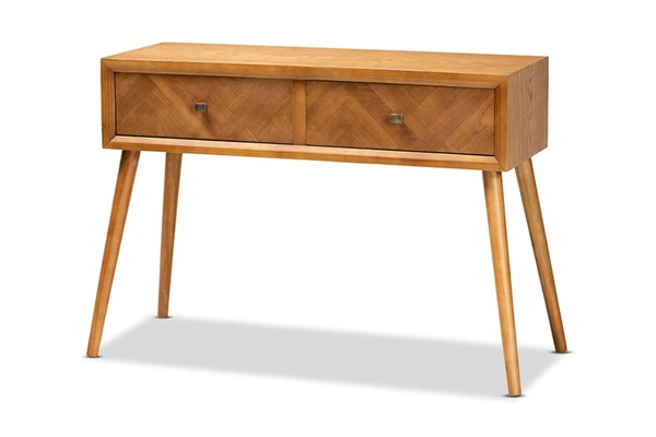 Baxton Studio Mae Natural Brown 2 Drawer Console Table BAX-JY20A151-Console
