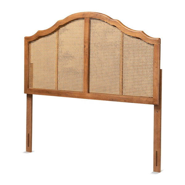 Baxton Studio Iris Ash Walnut Wood King Arched Headboard BAX-MG9741-ASHWAL-RTN-HB-K