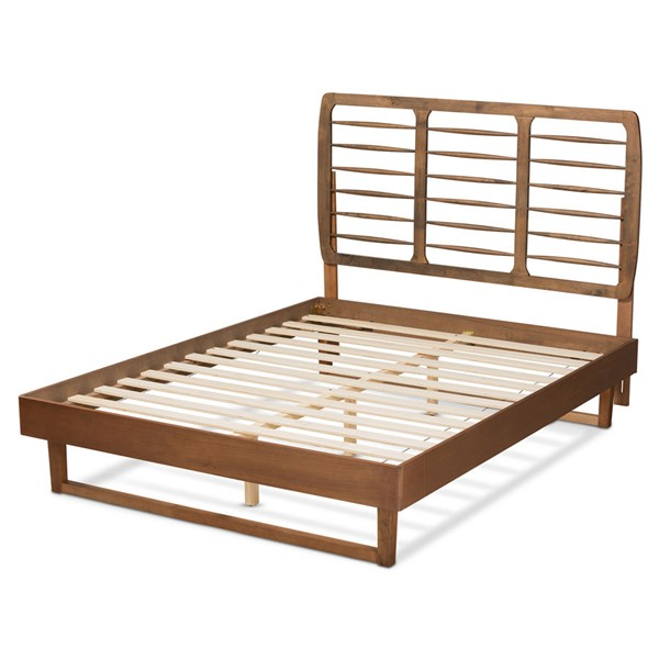 Baxton Studio Lucie Walnut Brown Wood Platform Beds BAX-LUCIE-BED-V