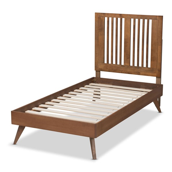 Baxton Studio Takeo Ash Walnut Twin Platform Bed BAX-Takeo-Ash-Walnut-Twin