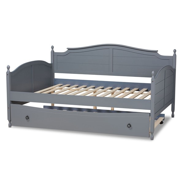 Baxton Studio Mara Grey Wood Full Daybed With Roll Out Trundle Bed BAX-MG0030-GREY-DAYBED-FULL