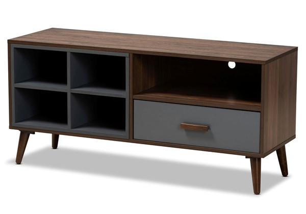 Baxton Studio Garrick Grey Walnut Brown Wood 1 Drawer TV Stand BAX-TV8018-Walnut-Grey-TV