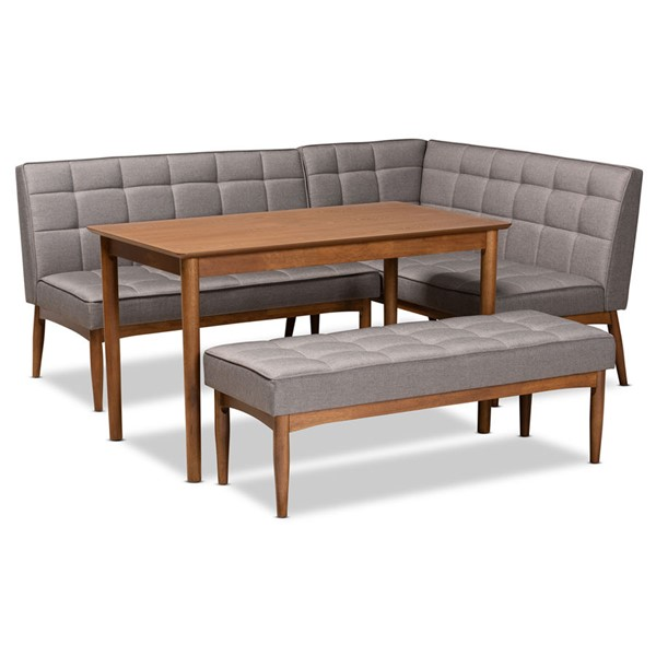 Baxton Studio Sanford Grey Fabric 4pc Dining Nook Set BAX-BBT8051-11-GRYWLNT4PCNKSET
