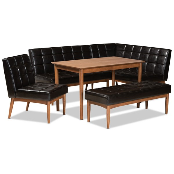 Baxton Studio Sanford Faux Leather 5pc Dining Nook Sets BAX-BBT8051-11-DR-5PCNKSET-V