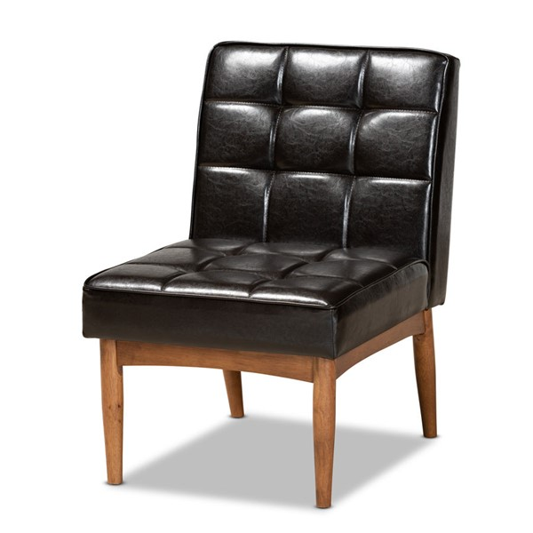 Baxton Studio Sanford Dark Brown Faux Leather Dining Chair BAX-BBT8051-11-DBR-WALNUT-CC