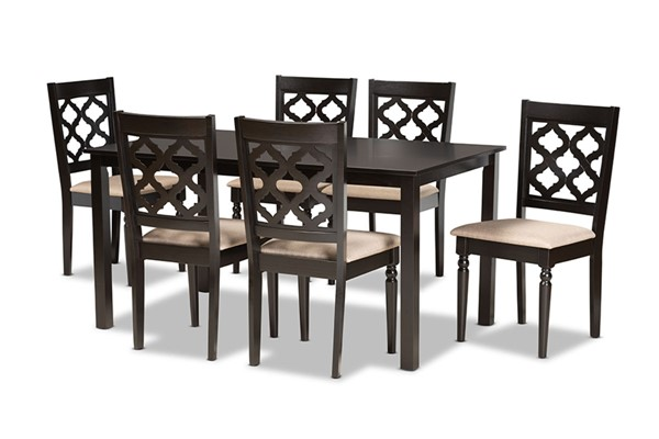 Baxton Studio Ramiro Dark Brown 7pc Dining Set BAX-RH336C-Sand-Dark-Brown-7PC-Dining-Set