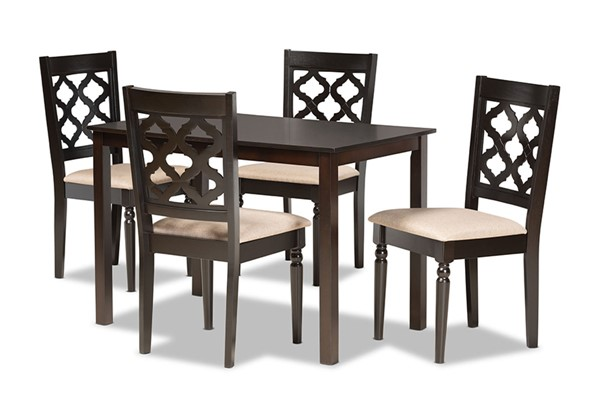 Baxton Studio Ramiro Dark Brown 5pc Dining Set BAX-RH336C-SD-DBR-5PCDINSET