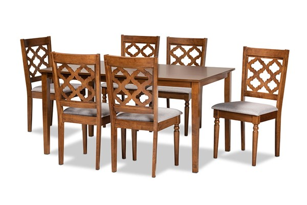 Baxton Studio Ramiro Walnut Brown 7pc Dining Set BAX-RH336C-GY-WL-7PCDINSET