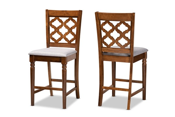 2 Baxton Studio Ramiro Walnut Brown Counter Stools BAX-RH336P-Grey-Walnut-PC