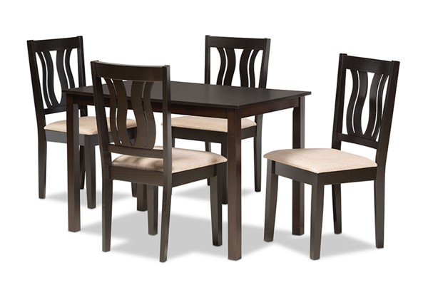 Baxton Studio Fenton Sand Dark Brown 5pc Dining Set BAX-RH338C-SD-DBR-5PCDINSET