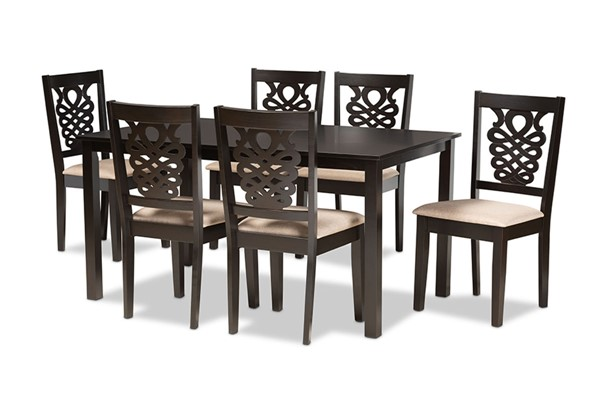 Baxton Studio Gervais Sand Dark Brown 7pc Dining Set BAX-RH339C-Sand-Dark-Brown-7PC-Dining-Set
