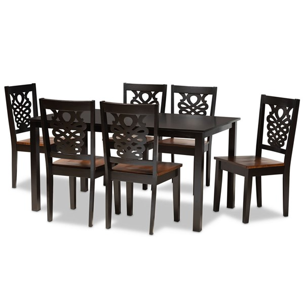 Baxton Studio Luisa Two Tone Brown Wood 7pc Dining Room Sets BAX-Luisa-7PC-DR-VAR